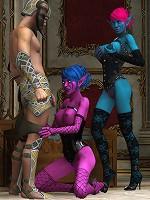 Skinny 3D Belle plays with drunk Hentai Alien