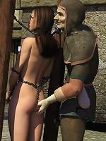 Floosie gets bitten and cums