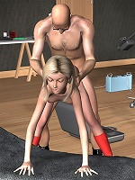 3D Harlot strips naked and gets bitten