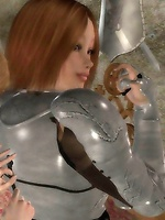 A holy knight asks an elven priestess for help removing her armor 1