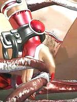 Tentacle monster fucks Red Head