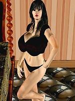 Beautiful Huge Tit 3D Woman in Bedroom