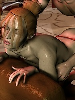 Horny Chick with tanned body slammed by 3D Mutant