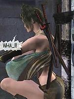 Fantasy world where big tit warrior gets bitten by the love bug.