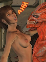 Horny beast shoving most of his cock into the girl's tight pussy