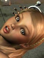 Hot 3D blonde Deborah is tied up for fucking machine