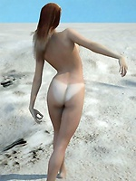 Nude toon babe at the beach