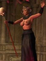 An evil priestess needs an angel's sperm to complete a demonic spell